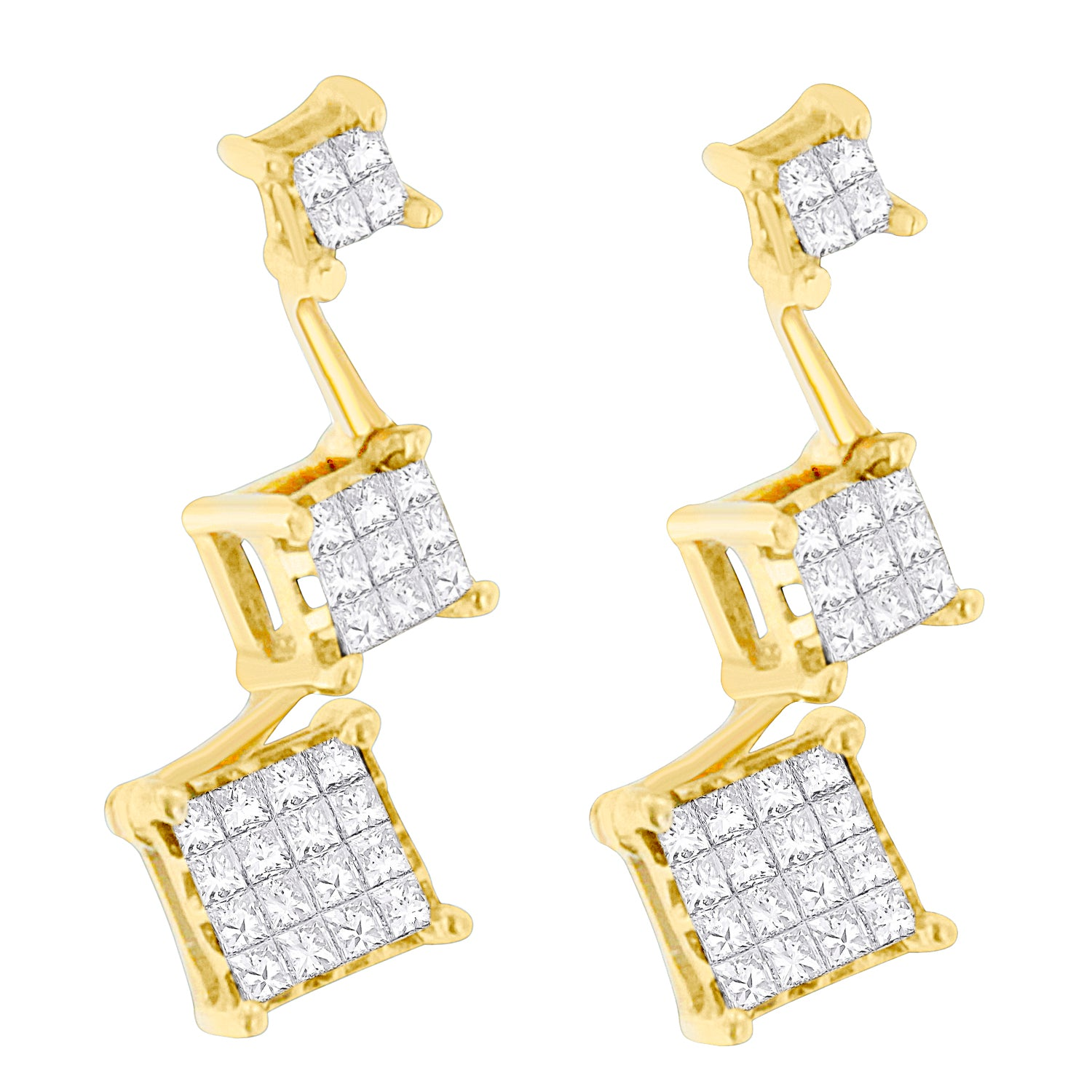 14K Yellow Gold Princess-cut Diamond Earrings