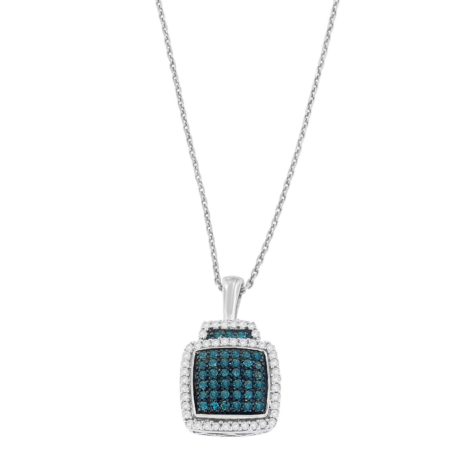 Sterling Silver Treated Blue Diamond Block Pendant Necklace