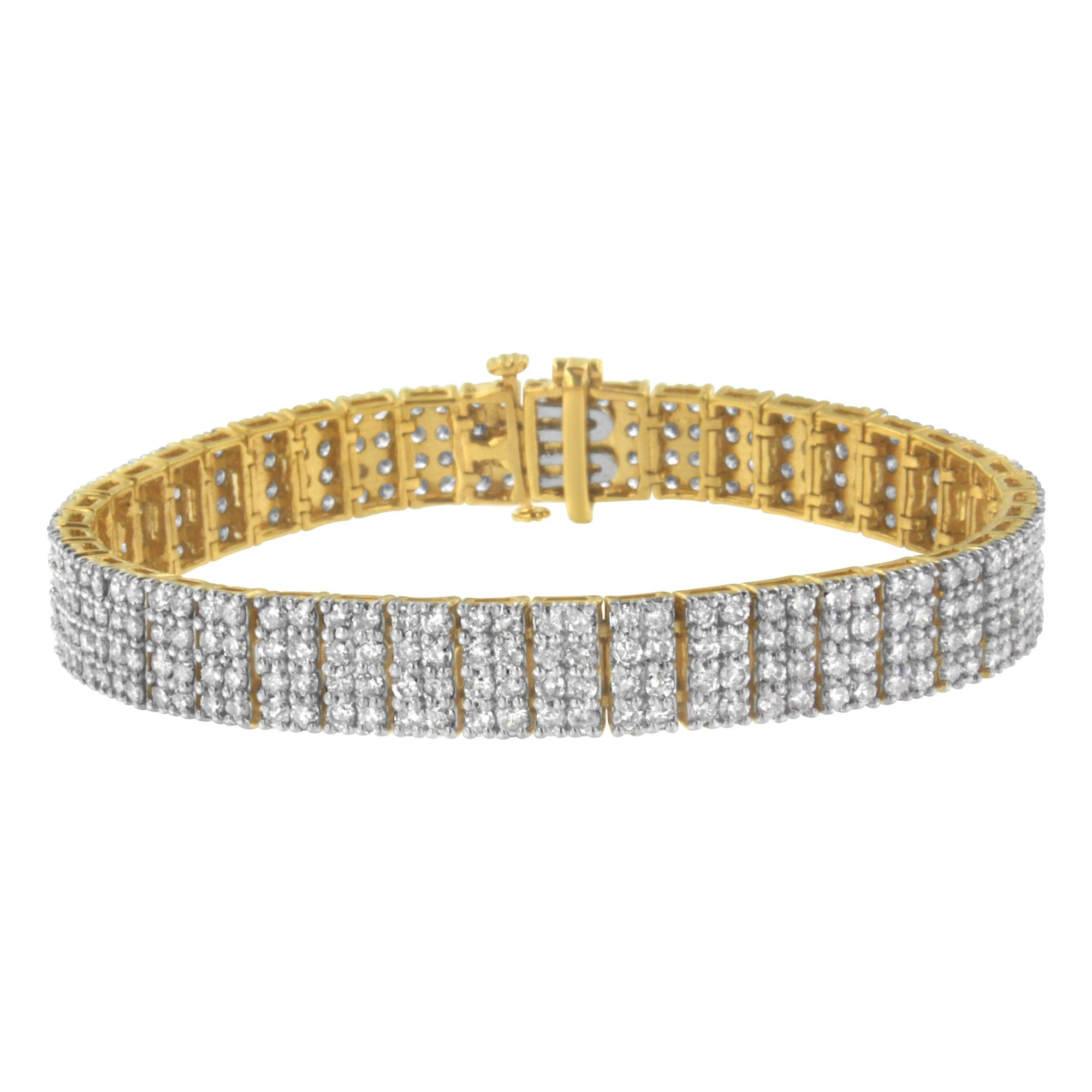 14K Yellow Gold Plated Sterling Silver Diamond Tennis Bracelet