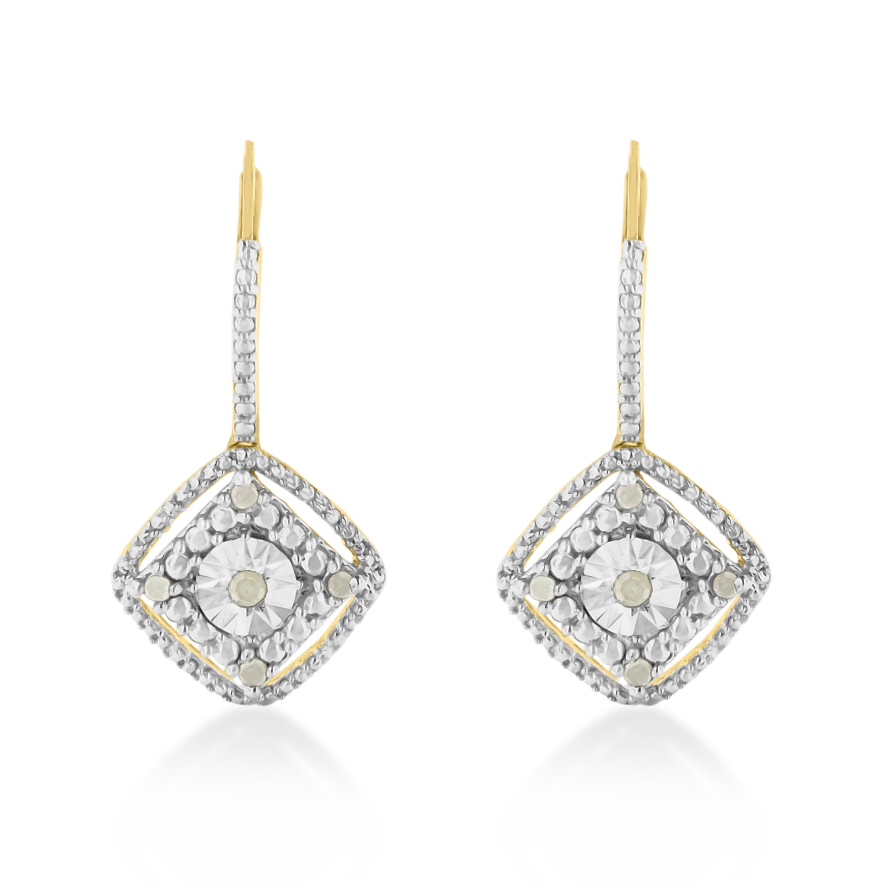 Yellow Plated Sterling Silver Rose Pattern Diamond Dangle Earrings