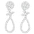 14K White Gold Round-Cut Diamond Teardrop Earrings
