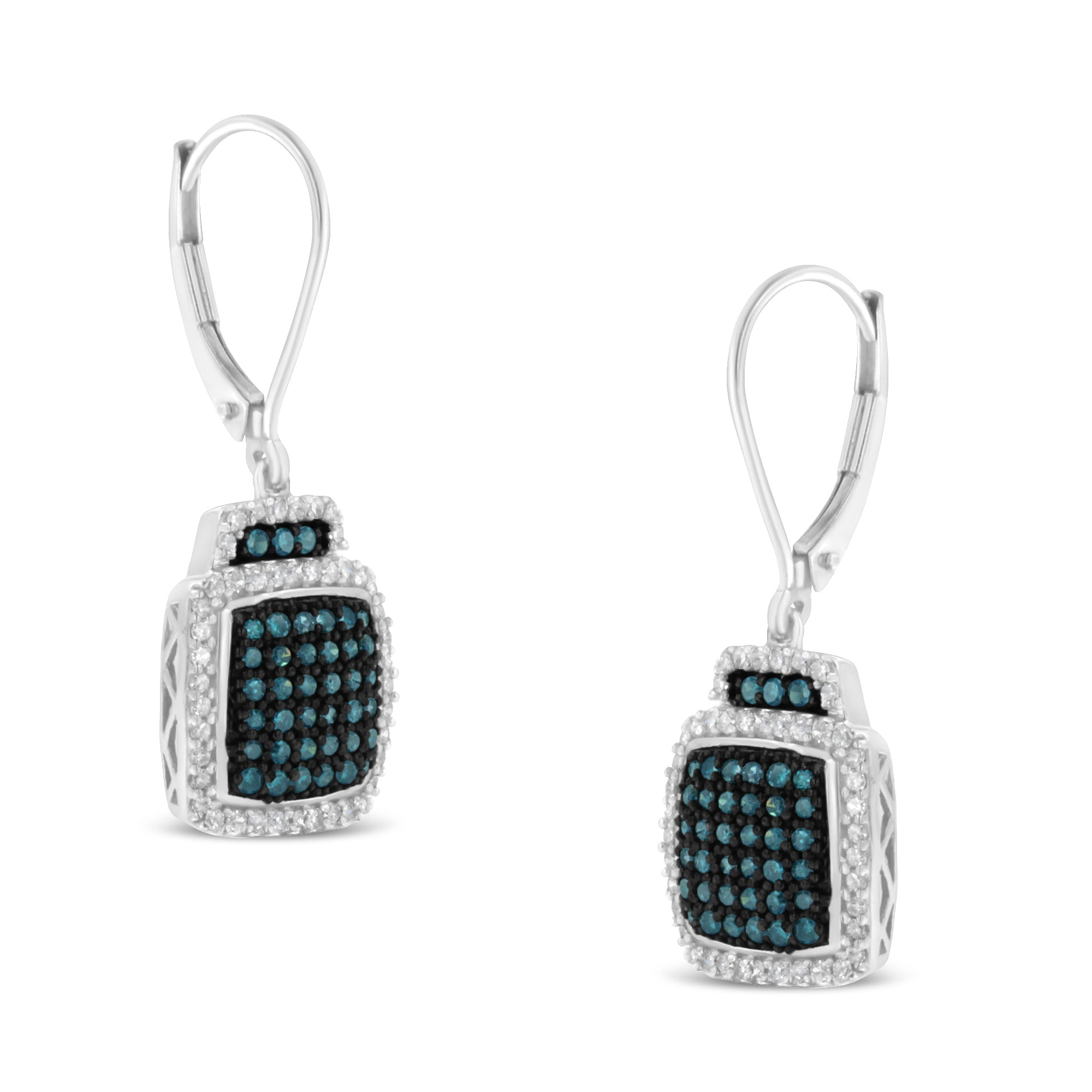 Treated Blue Diamond Square Dangle Earrings