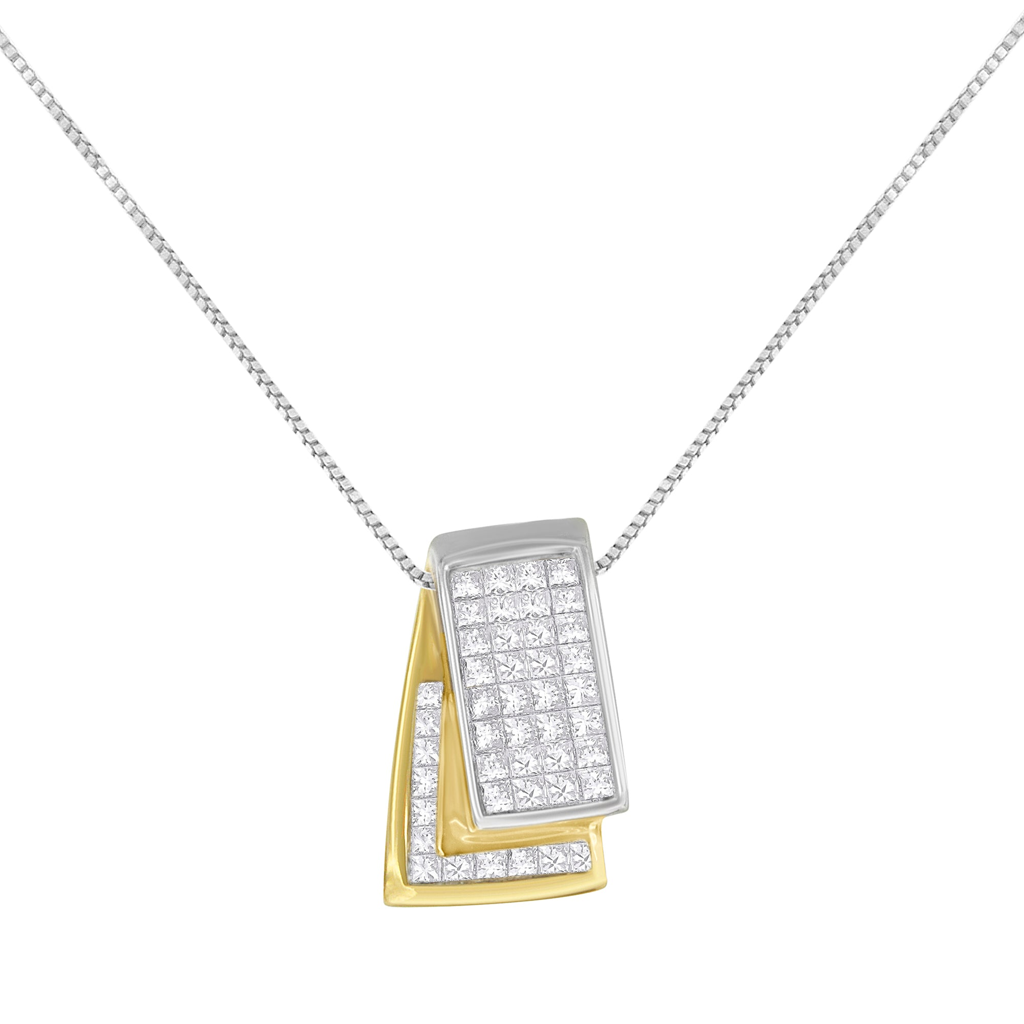 Diamond Box Pendant Necklace in 14k Gold