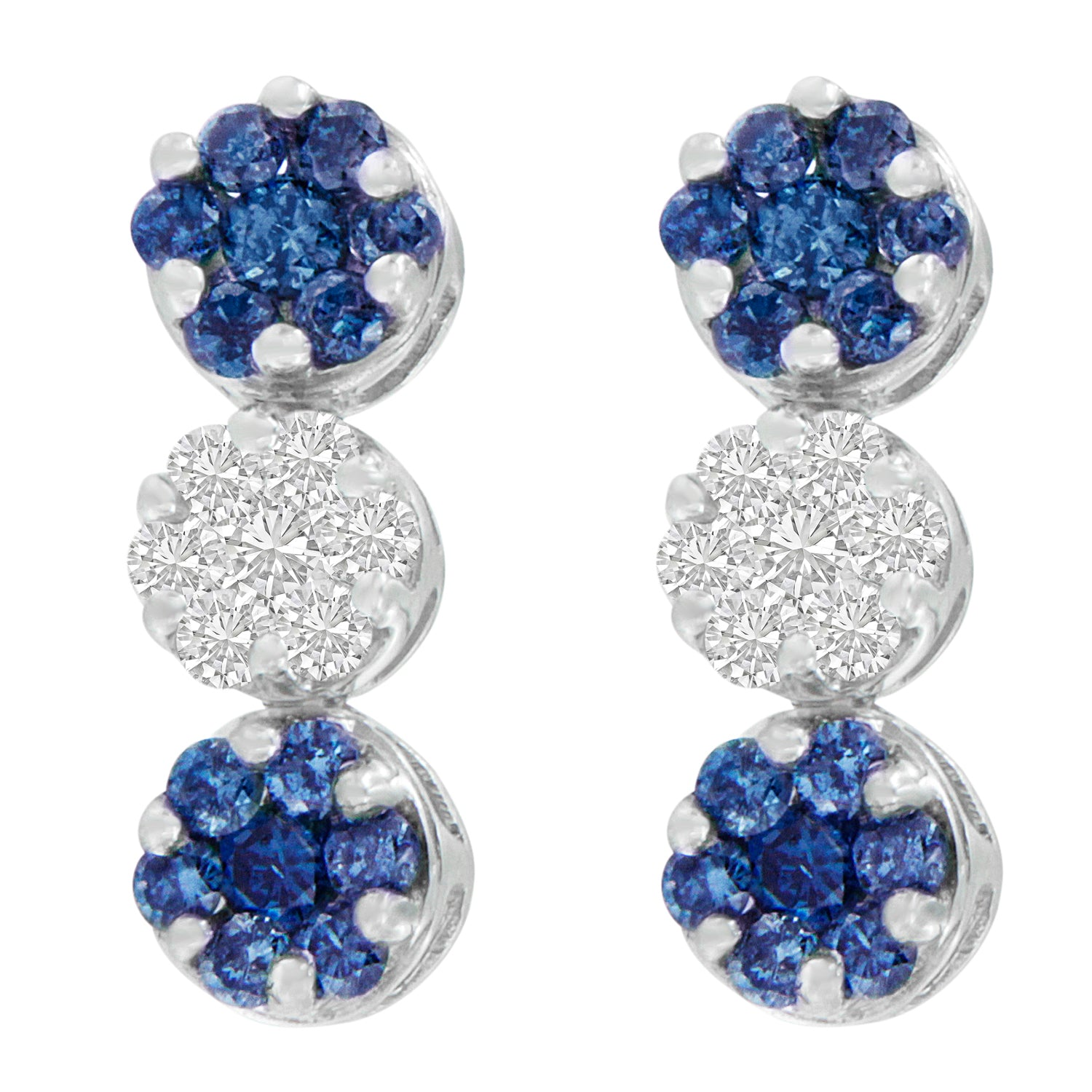 White Gold and Blue-Cut Diamond Earrings