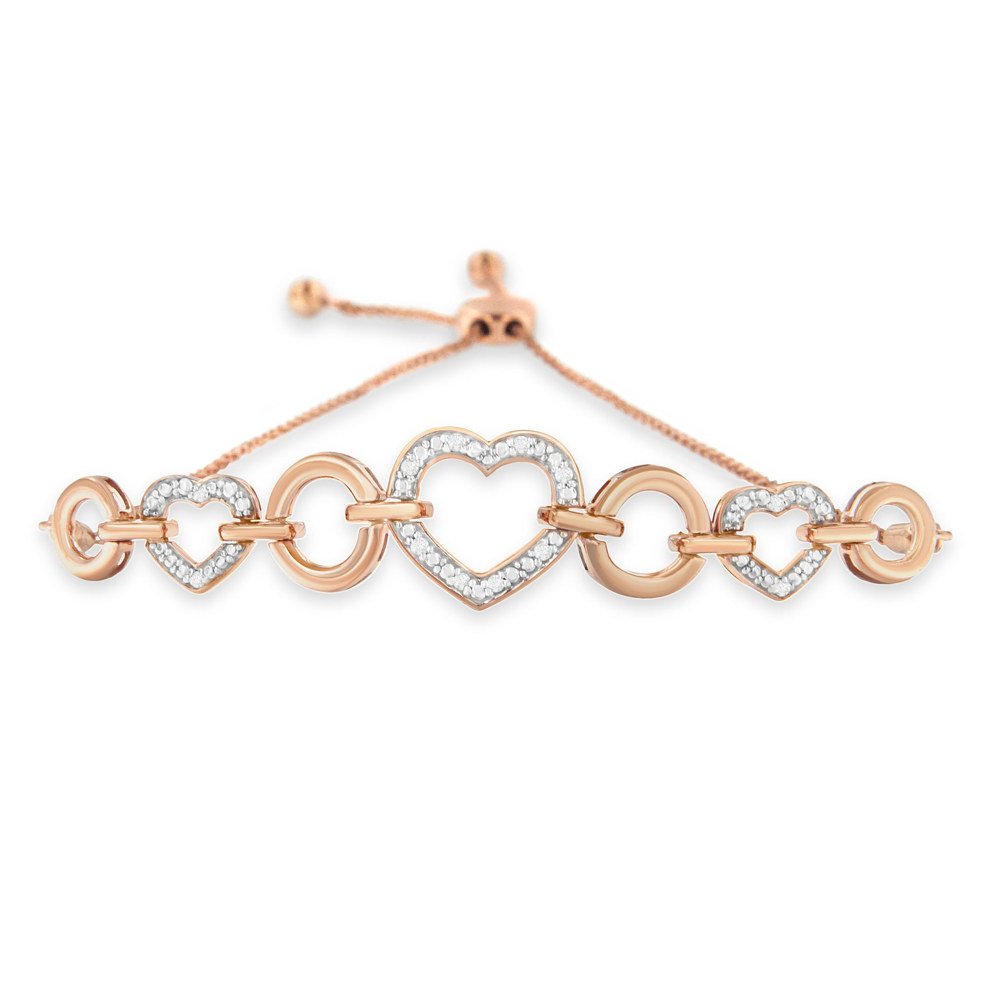 Rose-Plated Sterling Silver Diamond Heart Link Bolo Bracelet