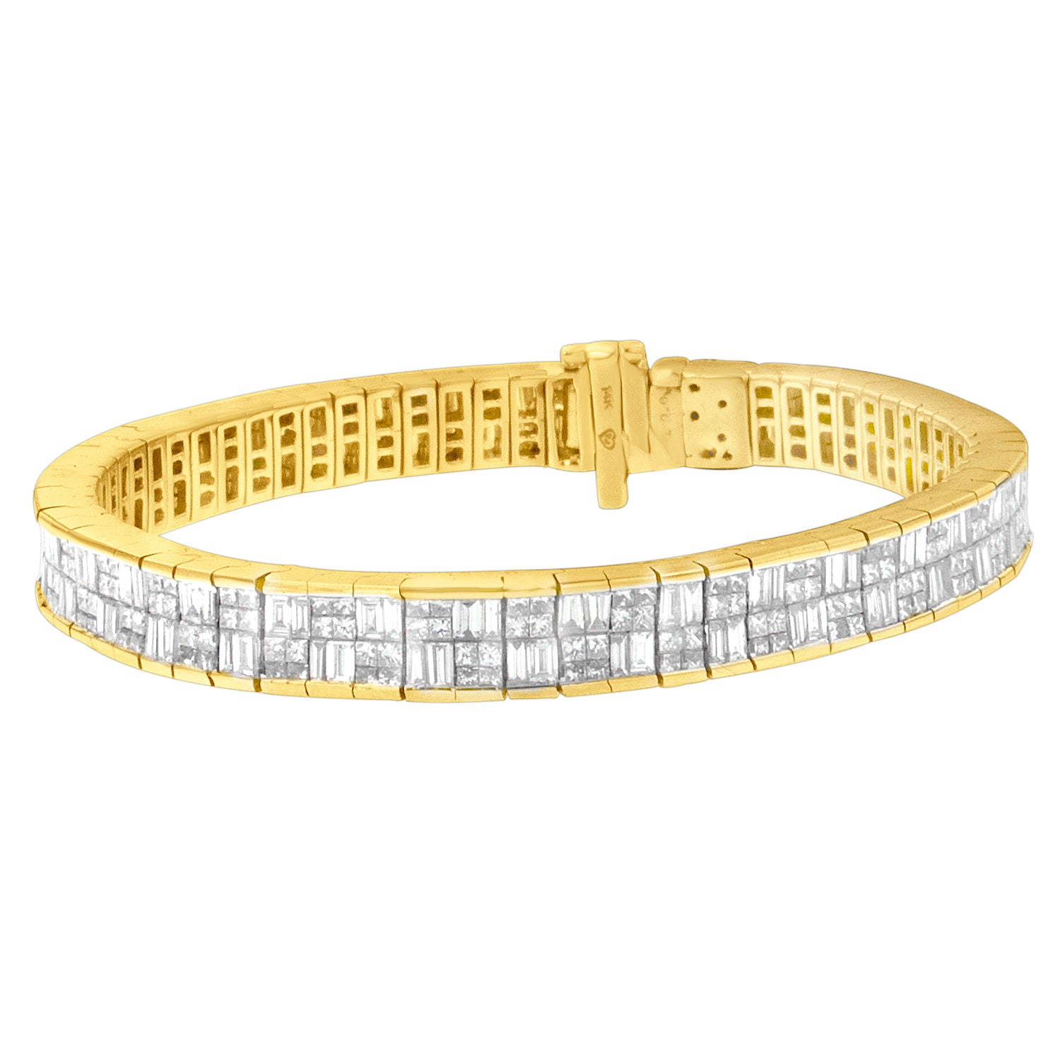 Baguette and Princess Cut Diamond Eternity Bracelet