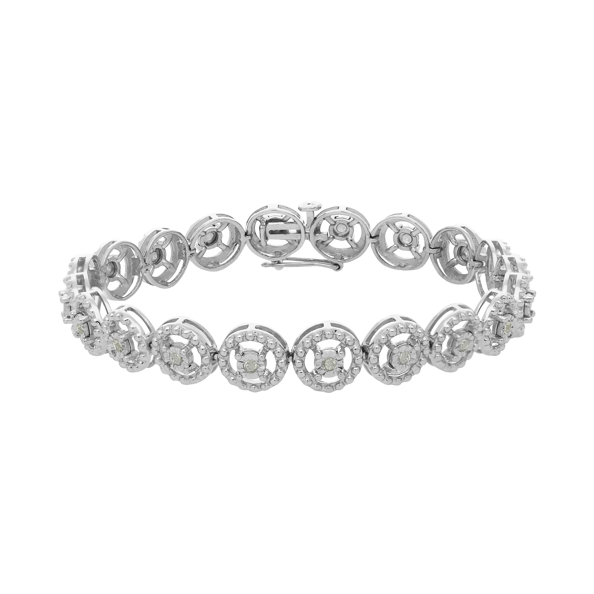 Sterling Silver Diamond Tennis Link Bracelet