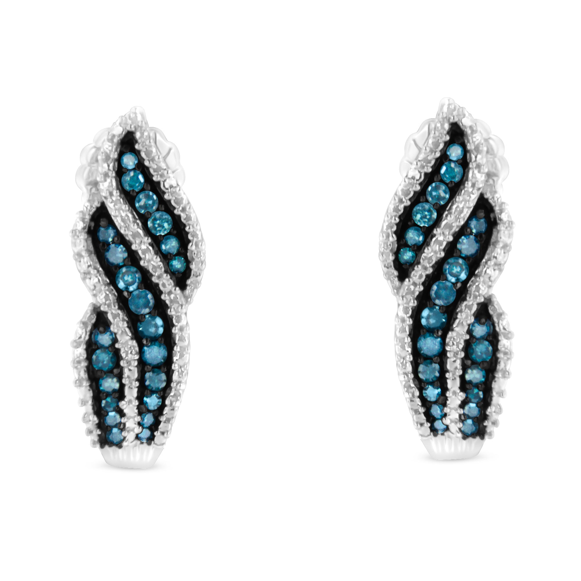 Treated Blue Diamond Dangling Stud Earrings