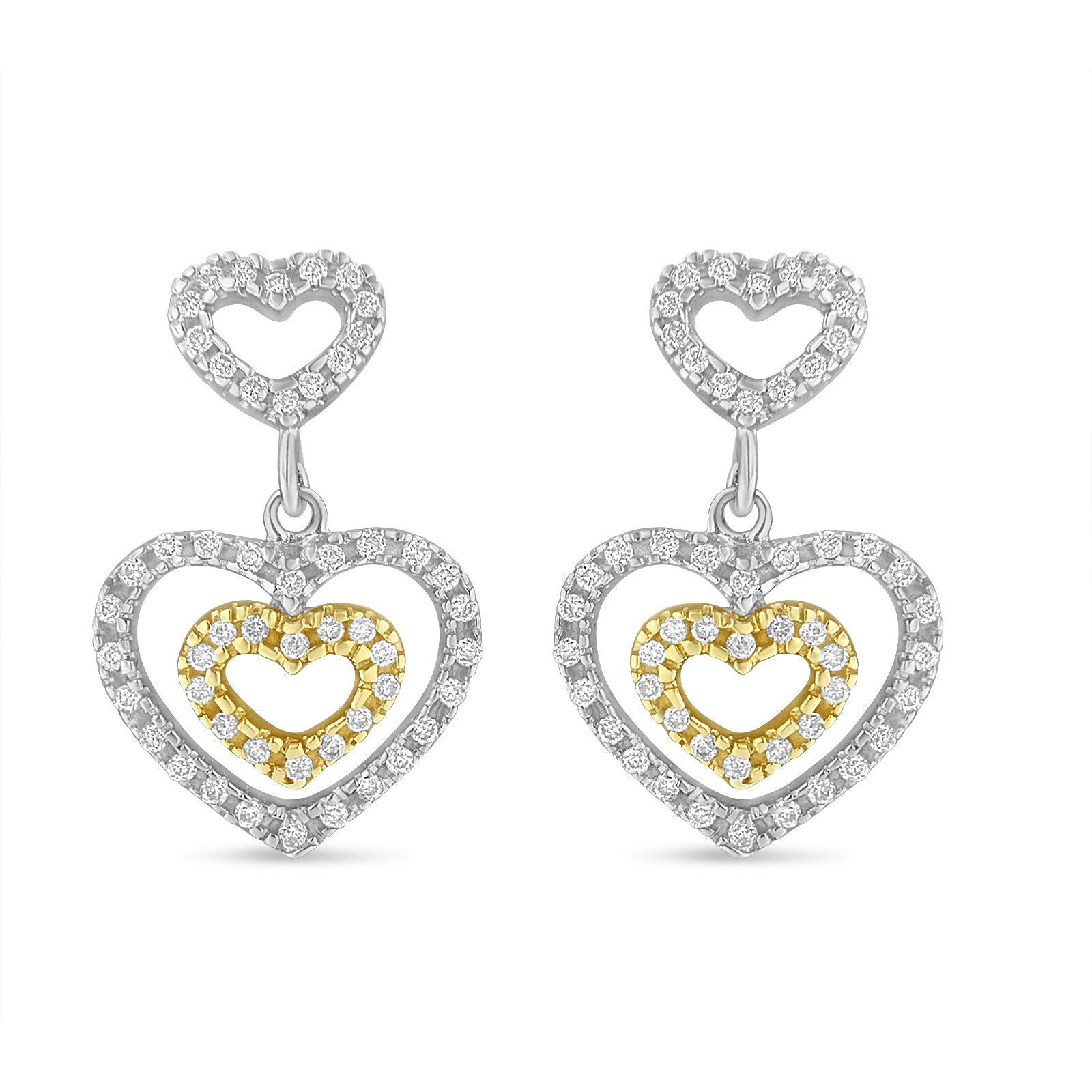 Diamond Hearts Dangle Earrings