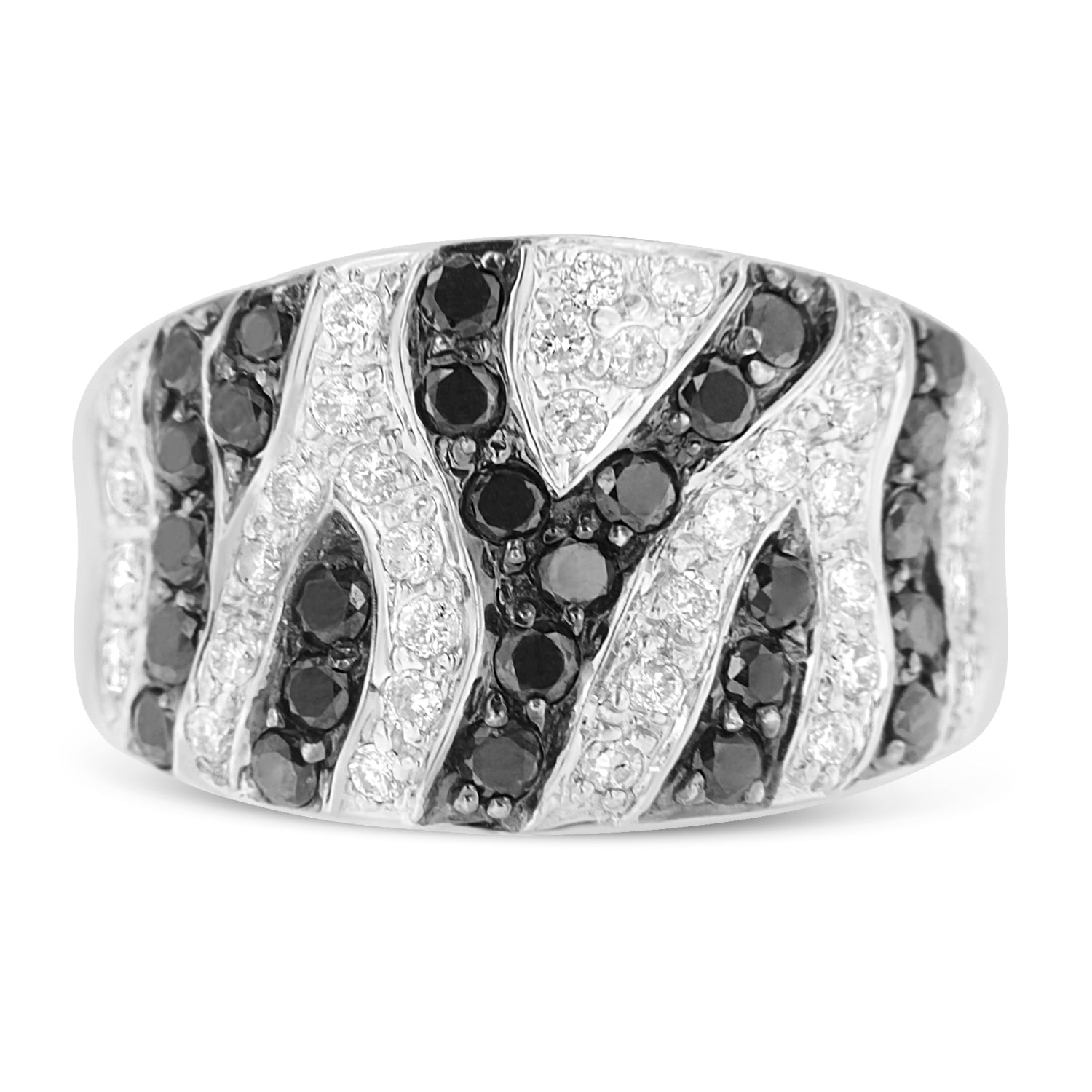14k White Gold Treated Black Diamond Cluster Ring