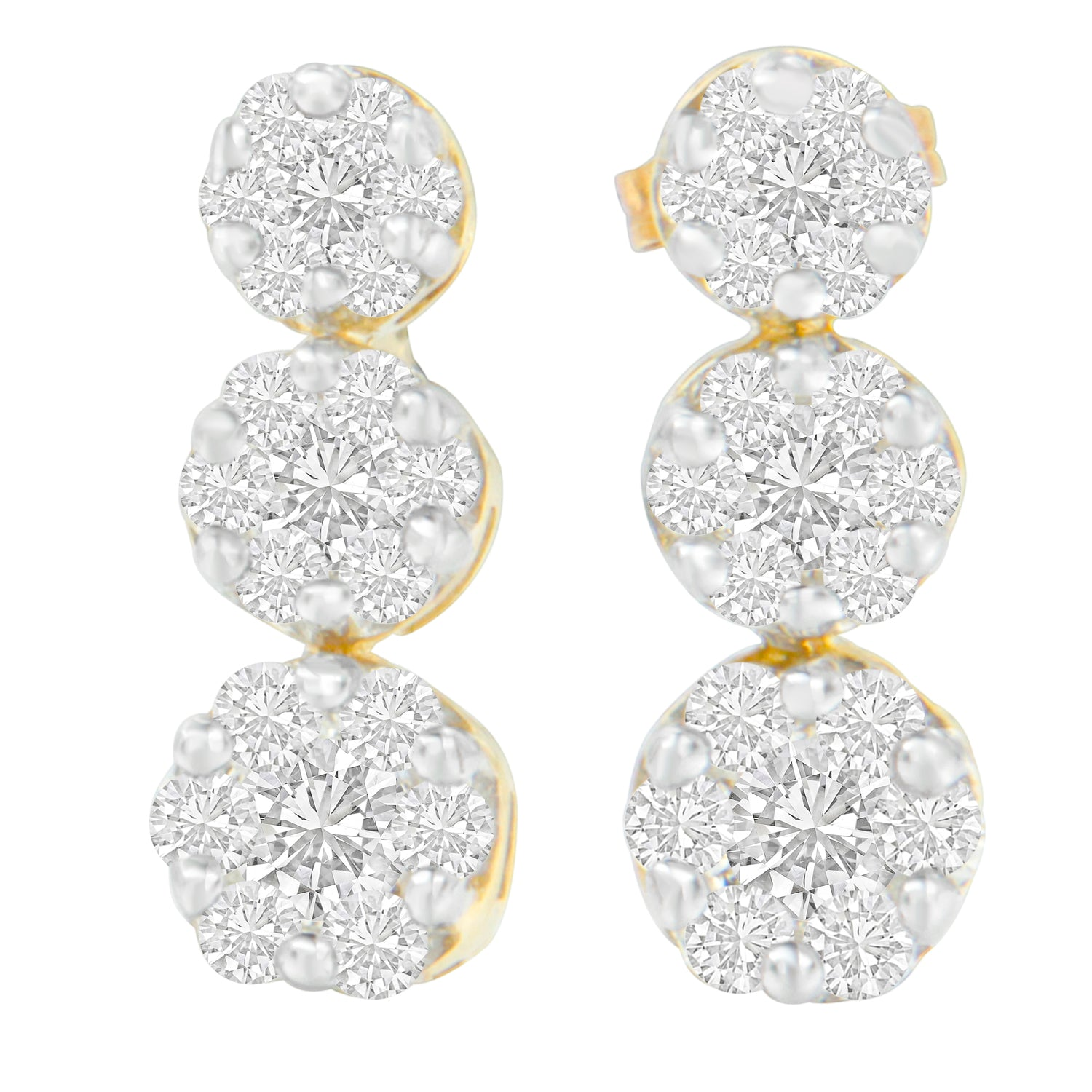 14K Yellow Gold Round-Cut Diamond Dangle Earrings
