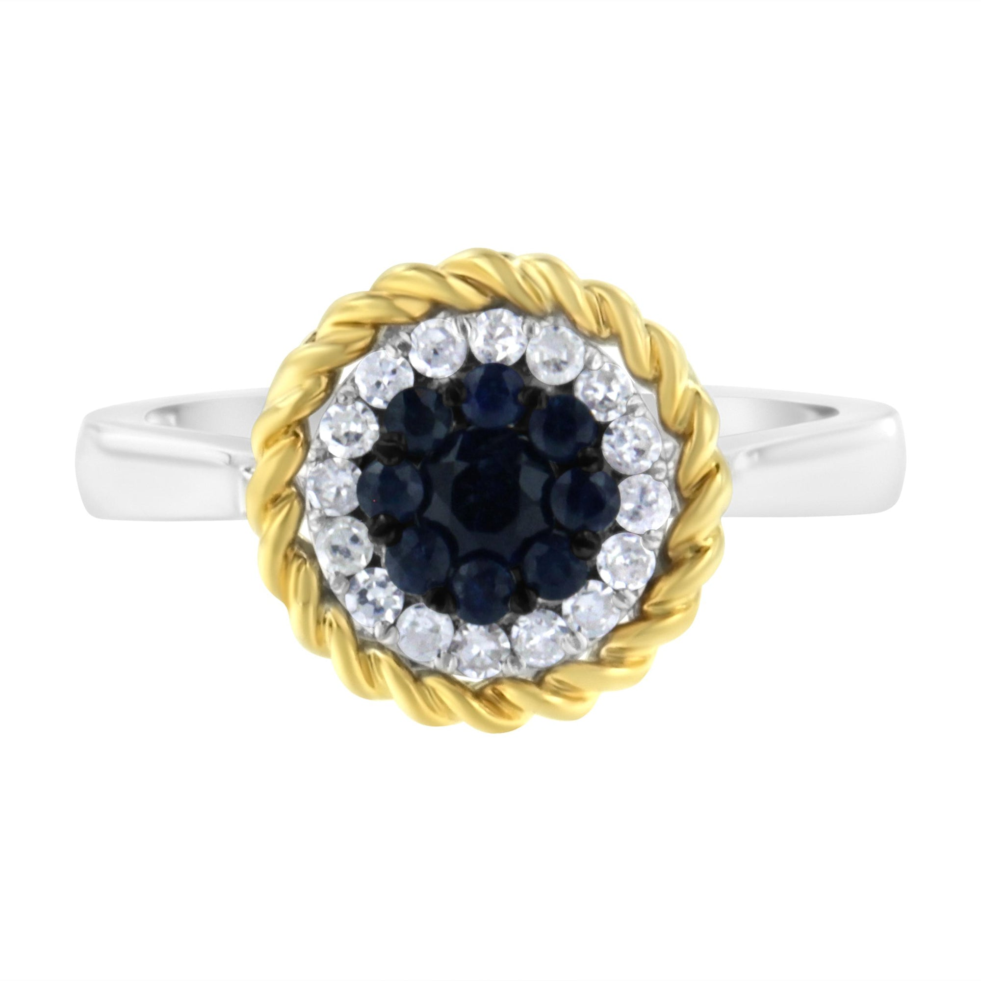 Diamond and Created Blue Sapphire Cocktail Ring