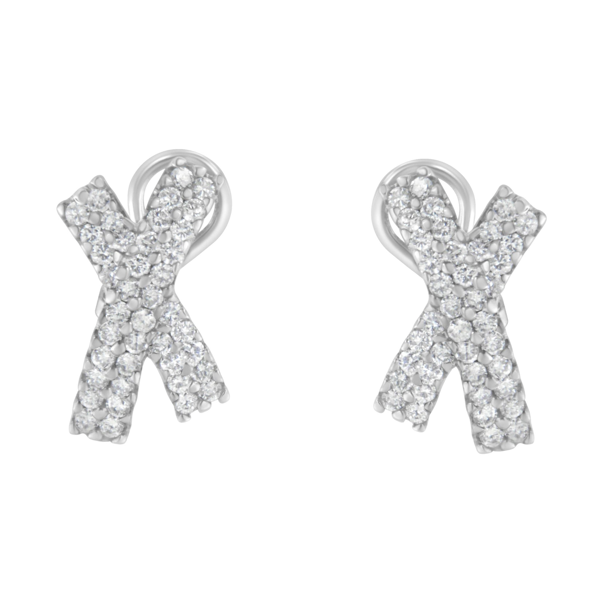 "14K White Gold Diamond ""X"" Earrings"