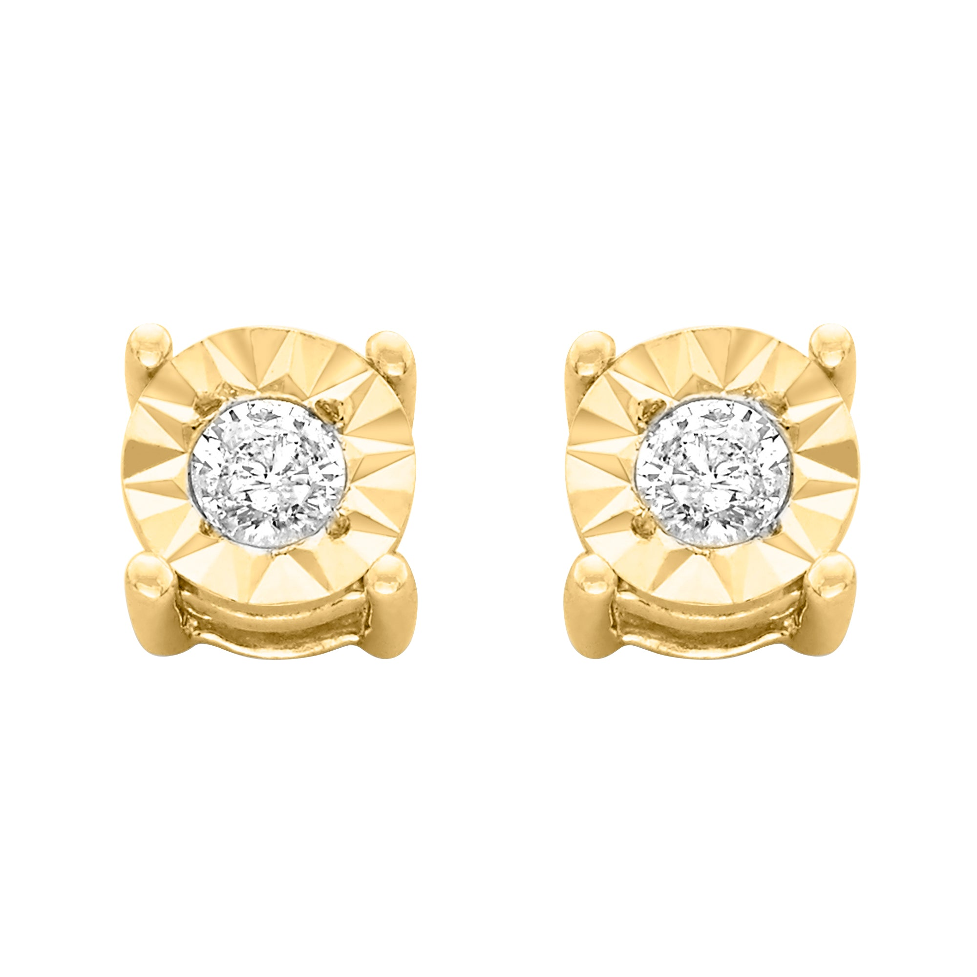 Round-Cut Diamond Miracle-Plated Stud Earrings