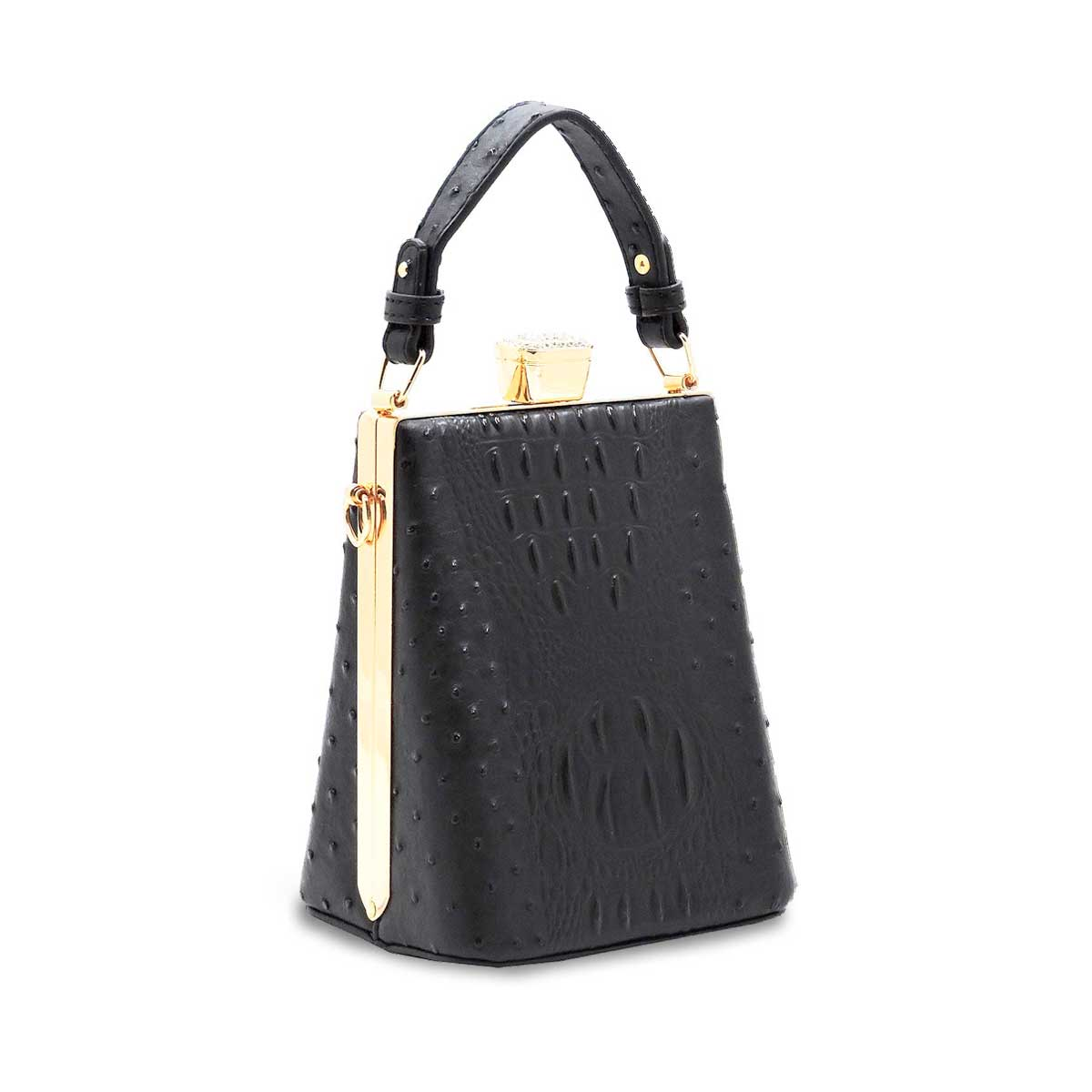 Black Ostrich Croc Frame Crossbody Satchel