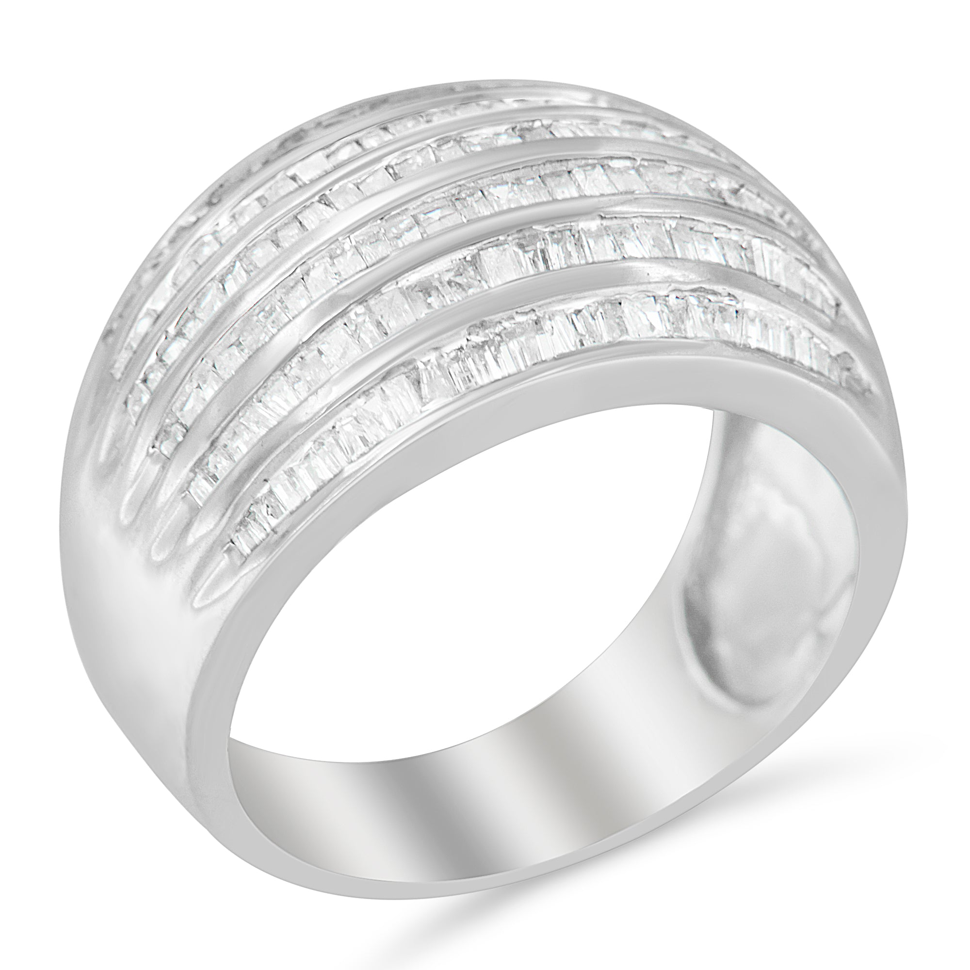 Sterling Silver Multi-row Baguette Diamond Band Cocktail Ring
