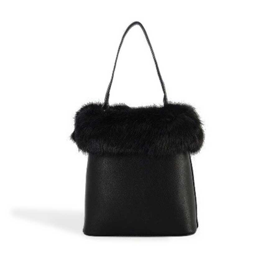 Faux Fur Trim Handbag