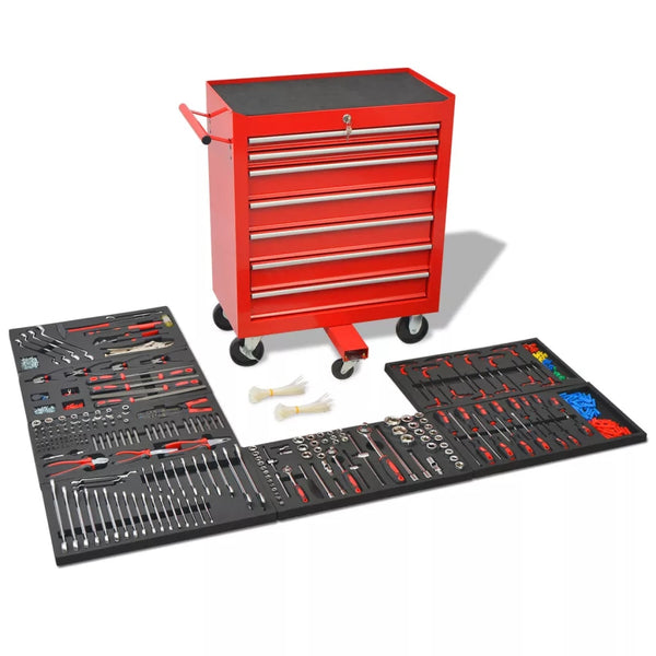 Workshop Tool Trolley with 1125 Tools Steel Red with Movable 7-drawer and Integrated Lock Tool Set Multi-Functional Toolbox