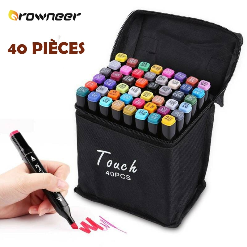 40 Color Alcohol Art Pen Permanent Marker Felt Pencil Painting Graphic Acid-free Two Standard Tips Dries Quickly with Black Bag