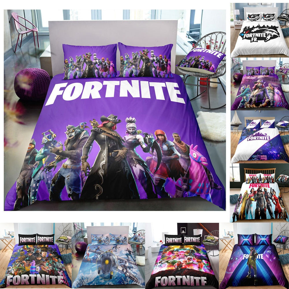 3D Cartoon Bedding Suit Fortnites Quilt Cover Fortress Night Printed Bed Spead Child Bedroom Bed Duvet Cover Bedclothes 3pcs Set