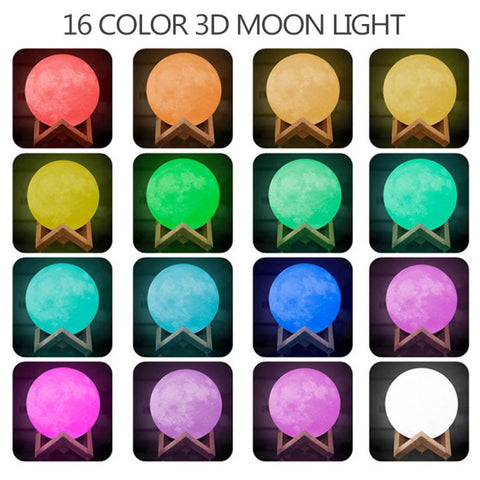16 different colors of MoonLight Lamp