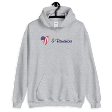 "Load image into Gallery viewer, American Flag Heart Hoodie ""I Remember"""
