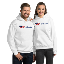 "Load image into Gallery viewer, Flowing American Flag ""I Remember"" Hoodie"