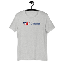 "Load image into Gallery viewer, Flowing American Flag ""I Remember"" T-Shirt"