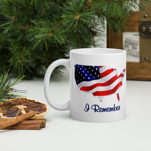 "Flowing American Flag ""I Remember"" Mug 11 and 15 ounces"