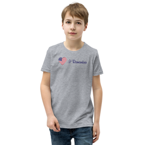 "American Flag Heart Youth T-Shirt ""I Remember"""
