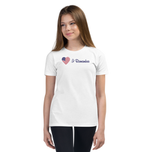 "Load image into Gallery viewer, American Flag Heart Youth T-Shirt ""I Remember"""