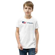 "Load image into Gallery viewer, Flowing American Flag ""I Remember"" Youth T-Shirt"