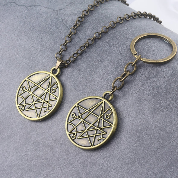 Elder Sign / Necronomicon Keychain