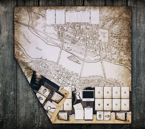 36x36 Double-Sided Playmat - Arkham Massachusetts 2 Player & Solo 2-Handed