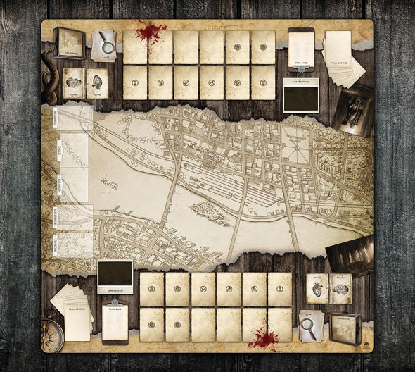 36x36 Double-Sided Playmat - Arkham Massachusetts 2 Player & Solo 2-Handed - Momo Monster Co