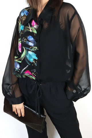 Oversize Blouse With Flowers