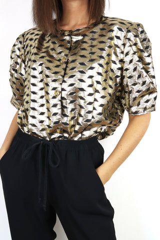 Vintage Blouse Shiny Geometric