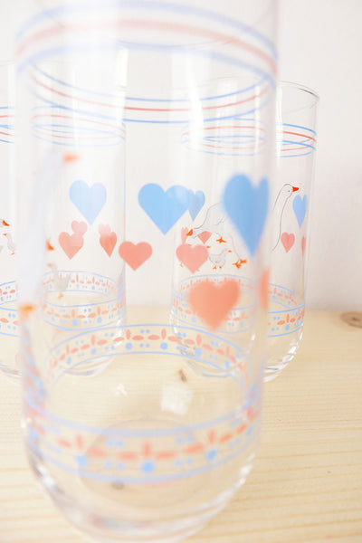 Vintage Cute Goose Glass  Set