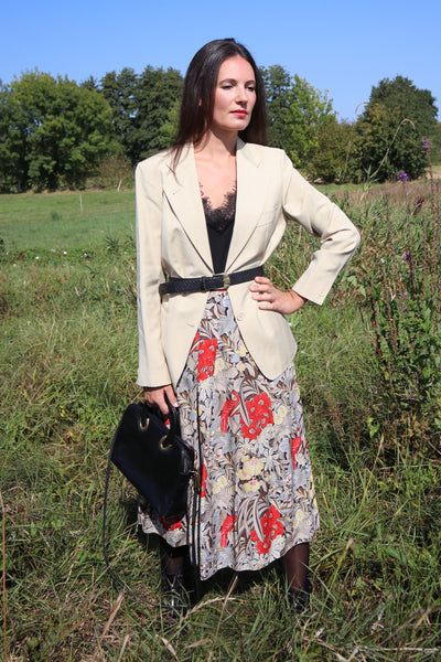 Vintage Midiskirt With Colorful Tropical Print