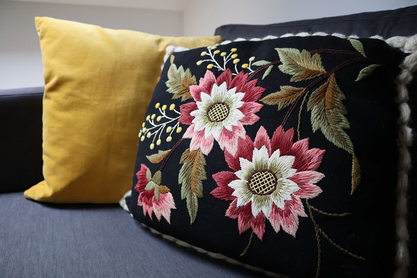 Vintage Wool Pillow With Beautiful Flower Embroidery