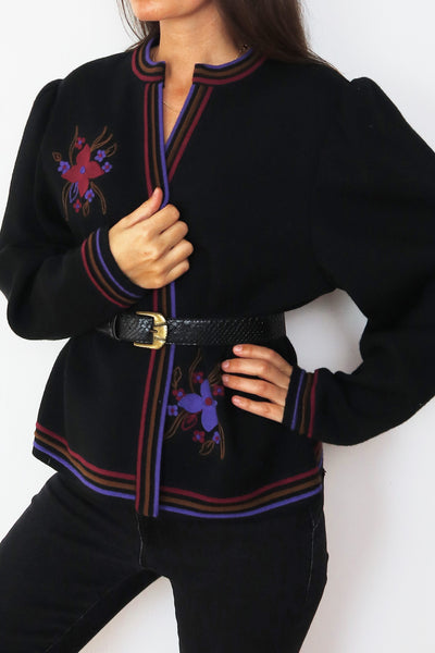 Vintage Cardigan With Beautiful Flower Embroidery