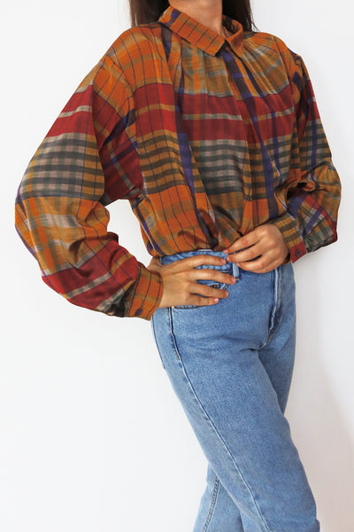 Vintage Blouse With Colorful Check