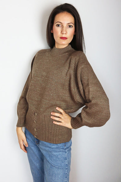 Vintage Standup Collar Pullover With Lurex Fibre