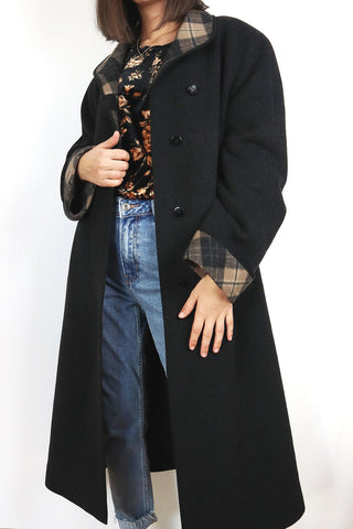 Vintage Wool Coat With Check Accents