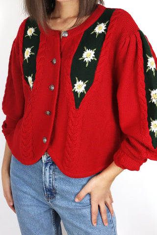 Vintage Bavarian Knit Cardigan With Flower Embroidery