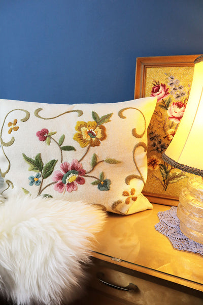 Vintage Pillow With Flower Embroidery