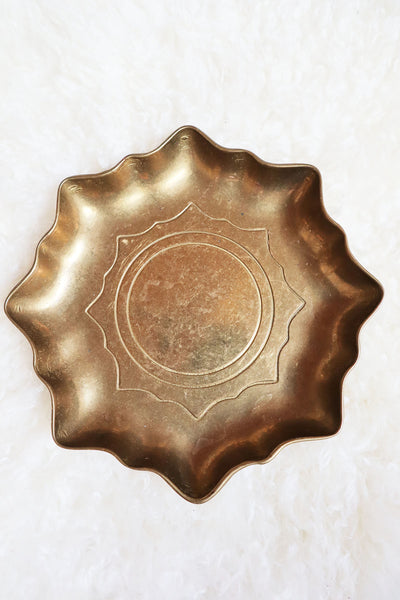 Vintage Brass Christmas Plate