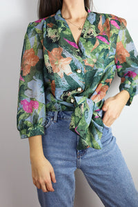 Floral Transparent Vintage Blouse