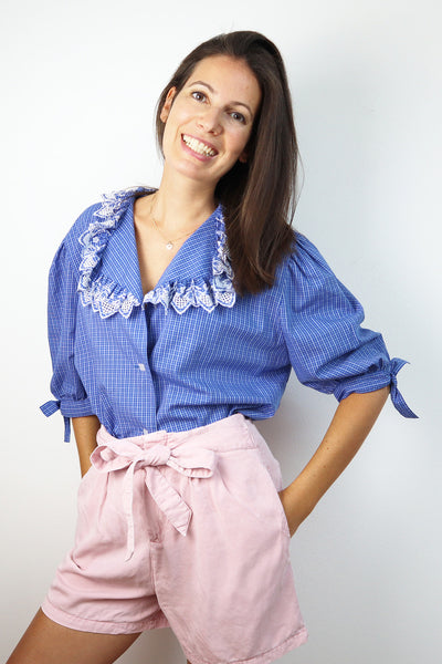Royalblue Vintage Blouse Puffsleeves