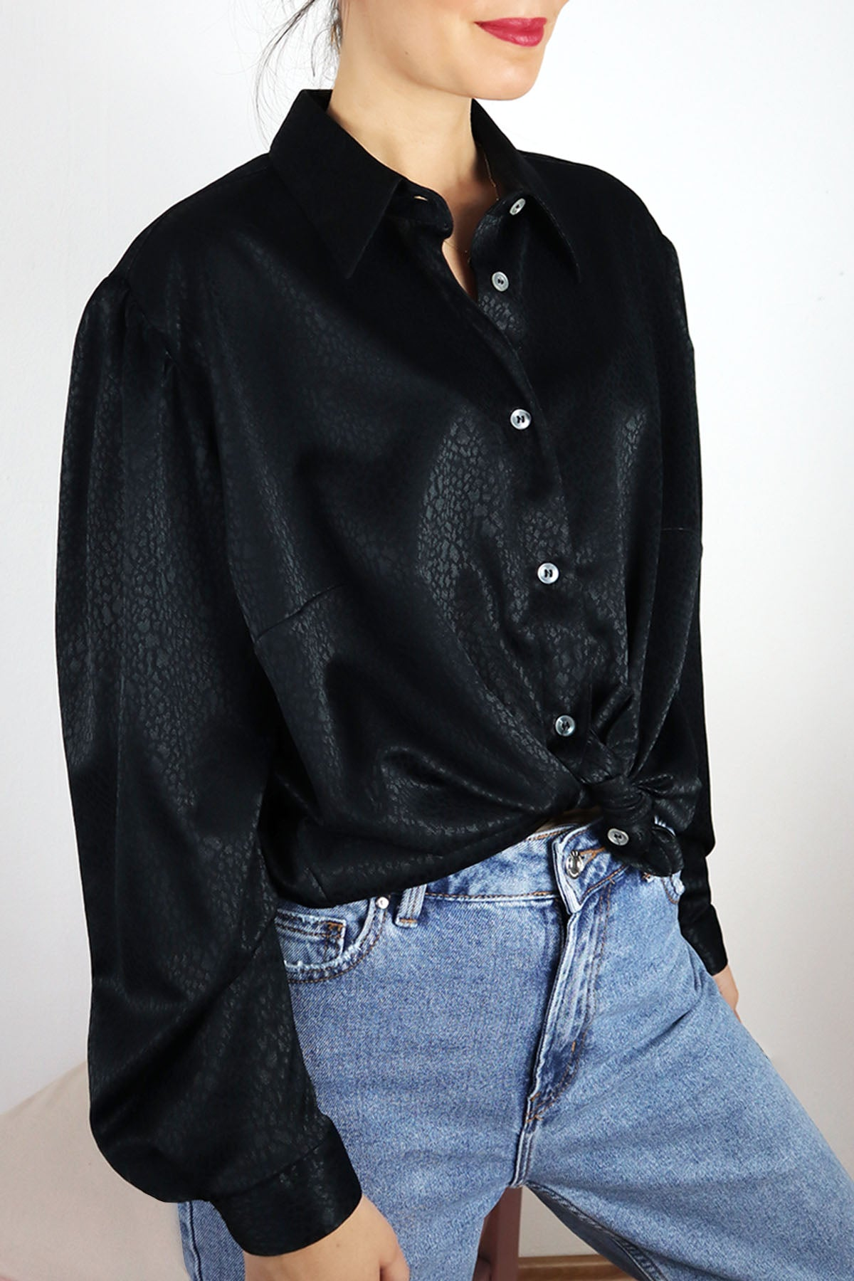 Shiny Black Vintage Blouse Puffed Sleeve